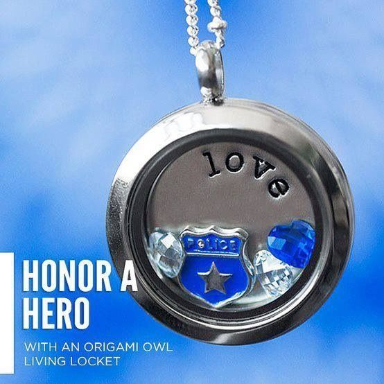 Do you have a hero to honor? www,LocketsByLiz.com Let me help you create a custom Origami Owl necklace!
