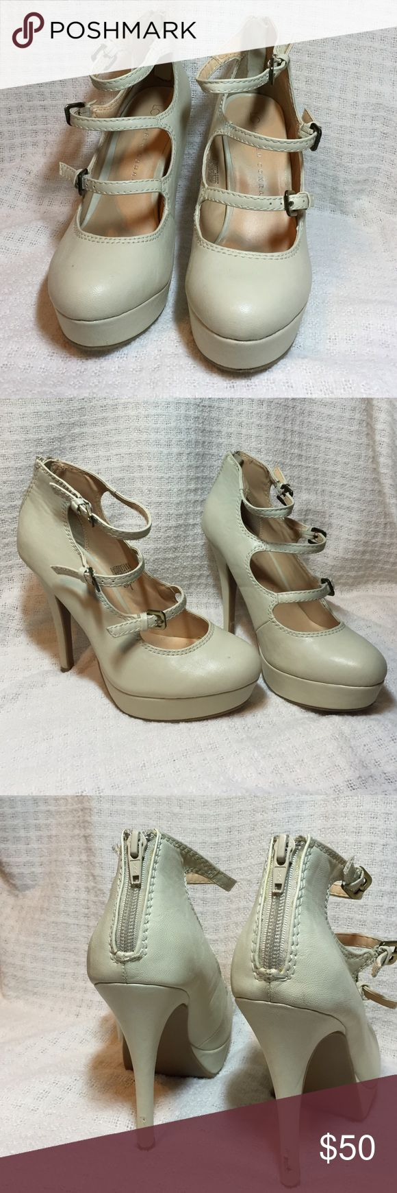 LC high heels Vienna cream high heels from LC collection. With a cute zipper on the back. Clean and nice, has a little scratch on the back heel as shows in photo. LC Lauren Conrad Shoes Heels