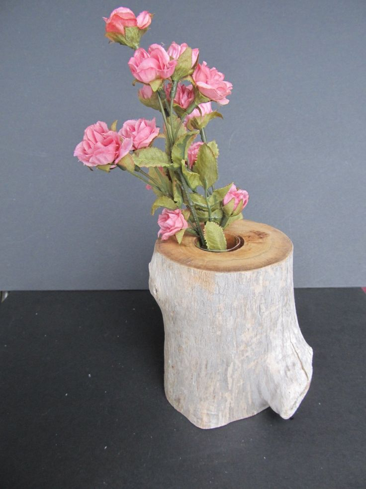 Driftwood flower vase by CarvaWhile on Etsy