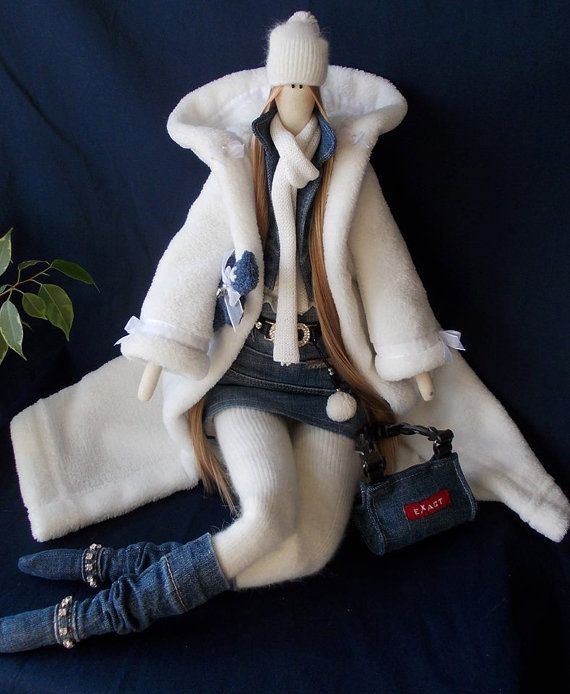 Tilda Denim Girl - tilda doll - home decor - gift for girl - handmade doll - perfect gift - decoration - Tilda angel doll- unique doll