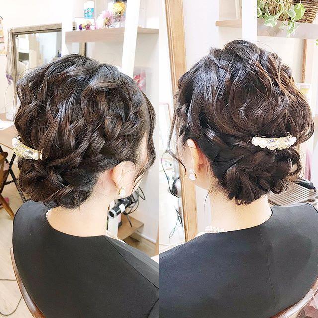 編み込みシニヨン  Hair Set &Spa  Roquat Salon 立川市錦町2ー1ー35 …