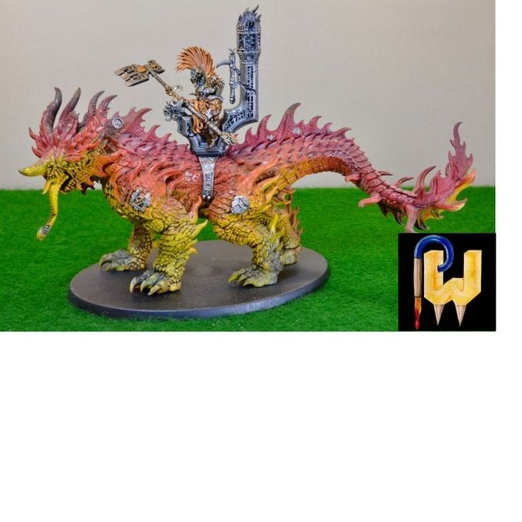 Warhammer Army AOS Dwarves Fyreslayers Auric Runelord On Magmadroth Painted