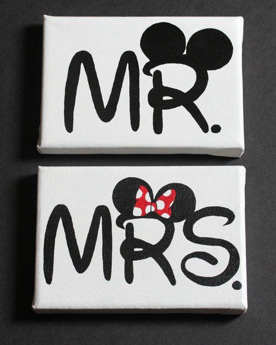 Mr. and Mrs. Disney Paintings on 5X7 Canvas by NothingButDisneyArt, $45.00 think of Carla