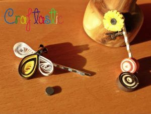 Honey-bee magnetic accessory for your hairpin – diy quilling