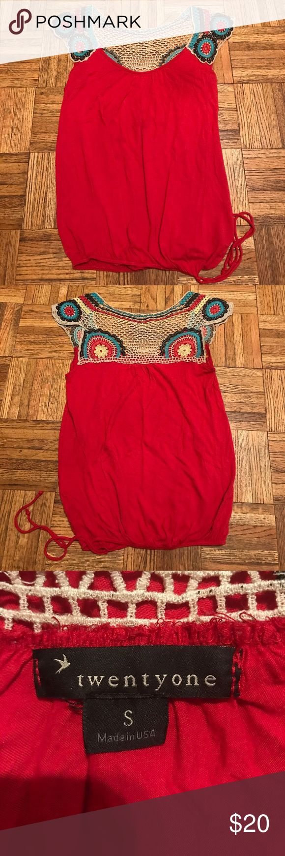 Women's Crochet Shirt Size S Women's crochet shirt with a tie at the side. Size Small TwentyOne Tops