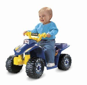 Power Wheels Lil' Quad by Fisher-Price. $82.99. Backed by Power Wheels 1 year limited bumper-to-bumper warranty. Rides low, so it's easy for them to get on and off by themselves. Fun for all kids!. Sporty ATV styling, built-in footrests, cute cargo rack on the back. Designed especially for toddlers, with easy push-button operation for simple stop and go. Amazon.com                Hop on and hit the trail with the Power Wheels Lil' Quad!  Realistic details add...