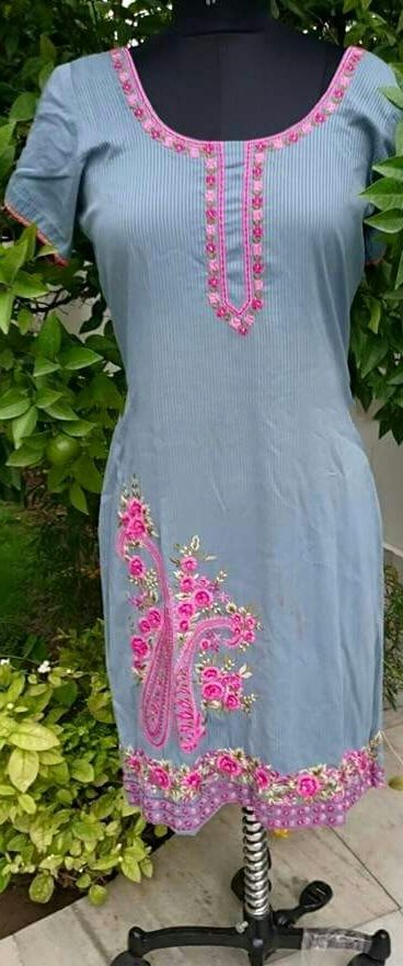Machine Embroidered Pure Cotton Suit in Grey Color with Pink Contrast, With Pure Chinon Chiffon