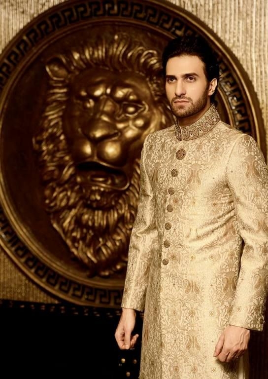 Model in golden sherwani. https://www.facebook.com/Shaadi.org.pk?fref=nf