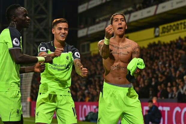 Firmino celebrates scoring Liverpool's 4th vs Crystal Palace