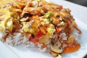 foe yong hai    eieren, champignons, preien, groene paprika, ui, kipfilet, chinese kruiden, peper en zout