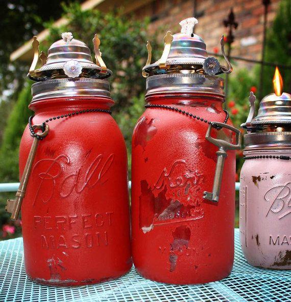 Upcycled Repurposed Ball Kerr Mason Quart Jar Set Oil Burners Planter Vase with Red Crimson Annie Sloan Chalk Paint and Old Skeleton Keys.