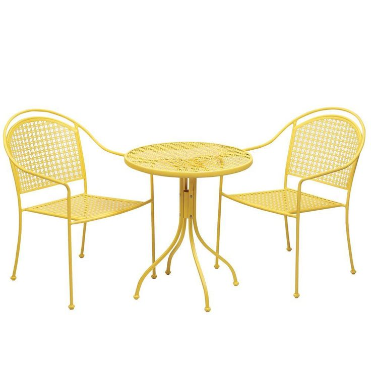 Home Decorators Collection Palm Desert 3 Piece Bistro Patio Set In Yellow