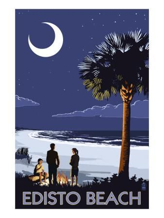 Edisto Beach, South Carolina - Palmetto Moon Art Print by Lantern Press at Art.com