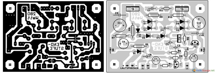 Печатная плата для мощного транзисторного УМЗЧ и расположение деталей на ней
