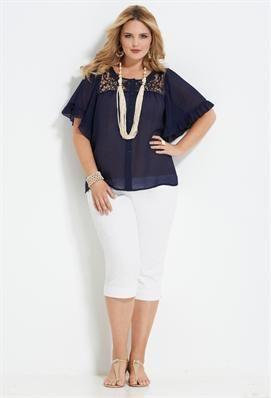 Great top, but would need to be paird with trousers....  Crochet Romance | Plus Size Outfits | Avenue