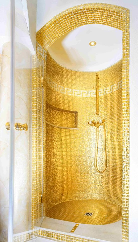 Golden shower with solid 24 carat golden bathroom accessoires very exclusive custom made available for purchase, price from $28,000 and more  upon request, and mail for details 16102012-8