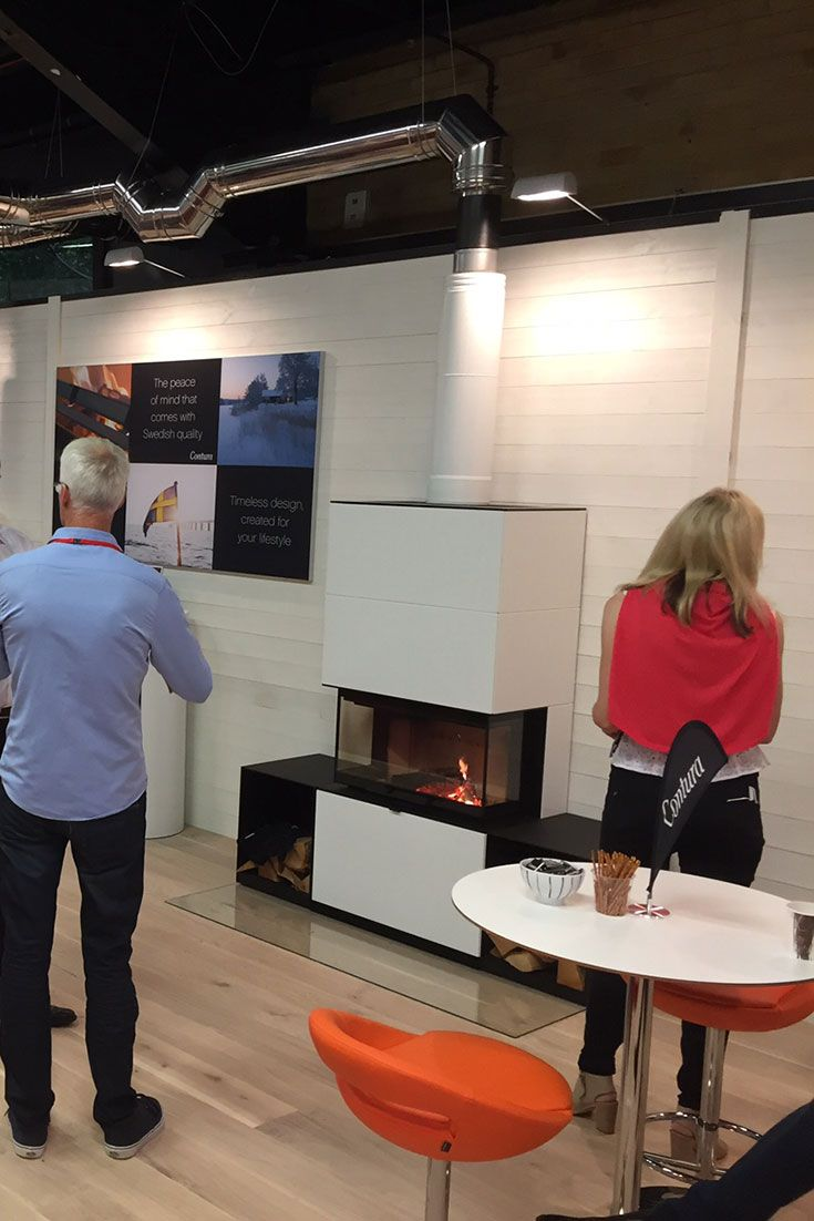 Contura i51 burning nicely at the Hearth & Home 2016.
