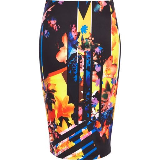 Black floral print scuba tube skirt - tube / pencil skirts - skirts - women