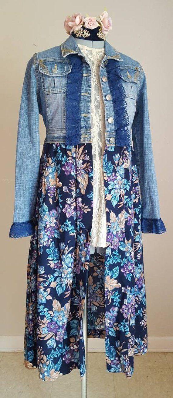11cf8d178030 DENIM JACKET DUSTER, Floral, Top, Long Jacket, Bohemian Hippie Gypsy,  Beautiful Blue Floral, Size Medium, Adjustable Waist, Altered Couture    Denim jackets ...