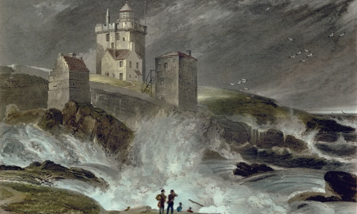 Aquatint by William Daniel from 1822 of Kinnaird Head during a storm. The first lighthouse in northern Scotland, Kinnaird Head was lit on 1 December 1787. From http://www.rcahms.gov.uk (Race to Up Helly Aa 2013)