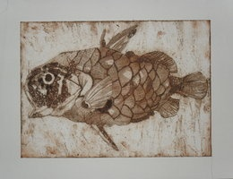 Collagraph Print of a Fish. by ~Laurzasawrus