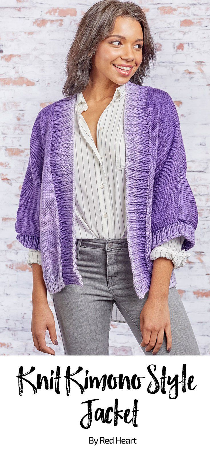 Knit Kimono Style Jacket free knit pattern in Super Saver Ombre Yarn ... 47b06079d