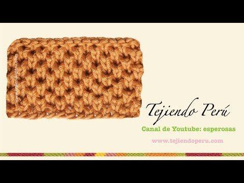 Aprende a tejer punto de panal o de abeja en dos agujas- 3ª forma - YouTube