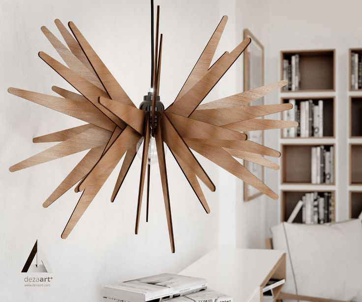 Pendant light star wood lasercut lamp handmade chandelier ceiling fixture modern star dezaart contemporary