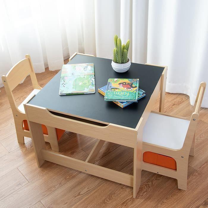 Costway Ensemble Table Et 2 Chaises En Bois Pour Enfant Table D Activite Pour Chambre D Enfants Avec Espace De Rangement Chaise De Rangement Table Et Chaises Meuble Enfant