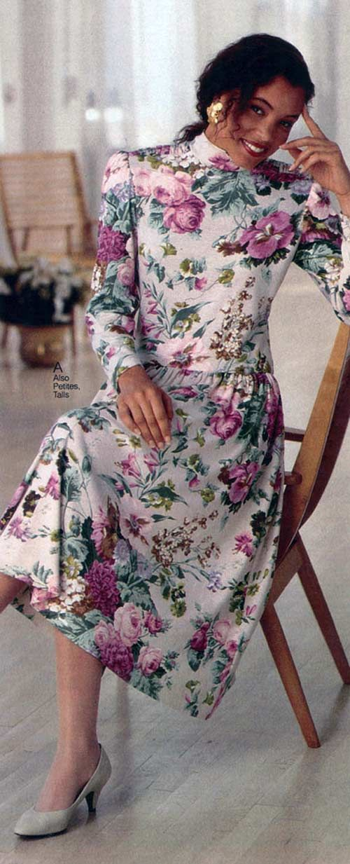 Women's Floral Dress from a 1990 catalog #1990s #fashion #vintage