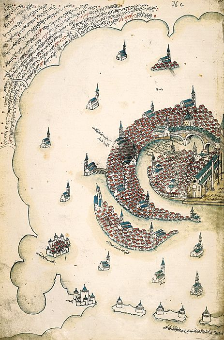 Venice, as rendered by Ottoman admiral and cartographer Piri Reis in his Kitab-i Bahriye, a book of portolan charts and sailing directions produced in the early 16th century. (via Islamic Arts and Architecture)