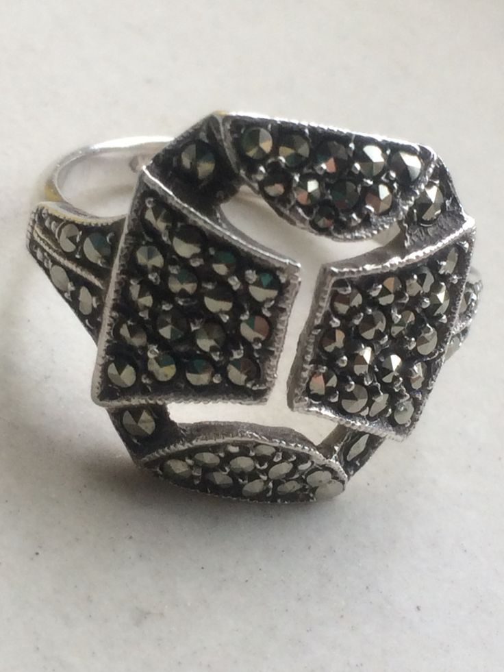Old silver marcasite shield ring  #vintageprettythings #vintageprettyrings #showmeyourrings #vintagelove #vintagerings #ecochic #recycledglamour #eco #recycle #vintagepinterest #ringsofpinterest #vintageprettypins #vintage #silver #marcasite #ring