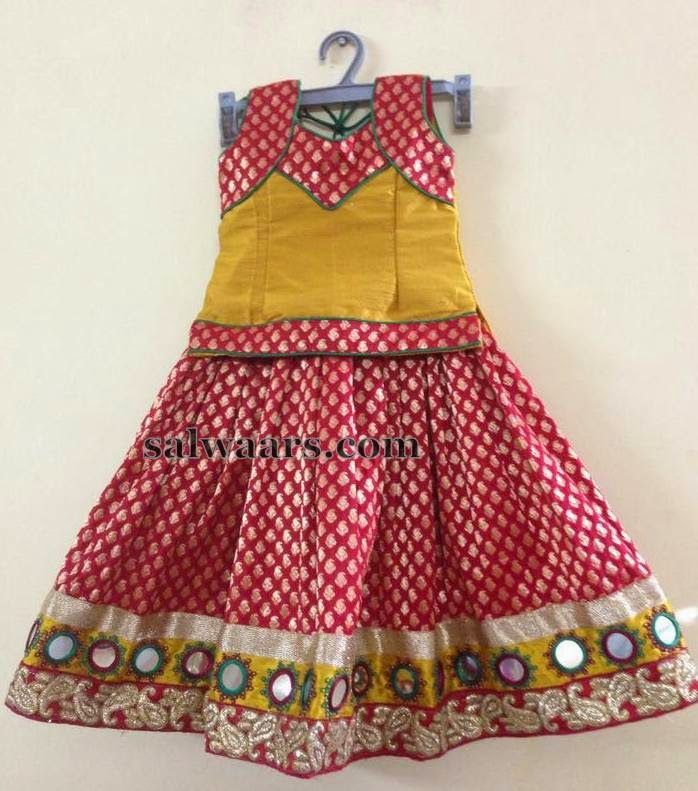 Red Mustard Benaras Skirt - Indian Dresses