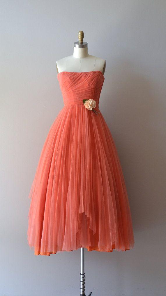 Ceil Chapman dress / coral 1950s dress / vintage 50s door DearGolden