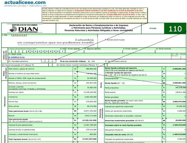 Formularios 110 y 140 con anexos y formato 1732 para personas jurídicas año gravable 2014