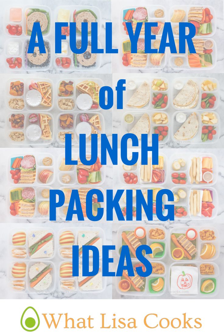 A whole year - hundreds! - of lunch packing ideas.  Includes nut free lunches, gluten free lunches, kids lunches, adult lunches, breakfast for lunch, non-sandwich lunches, and more!  Most are packed in @easylunchboxes. From www.whatlisacooks.com.
