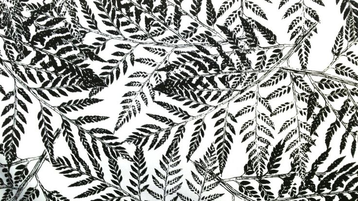 Monochrome - Fern Gully in Coal on White