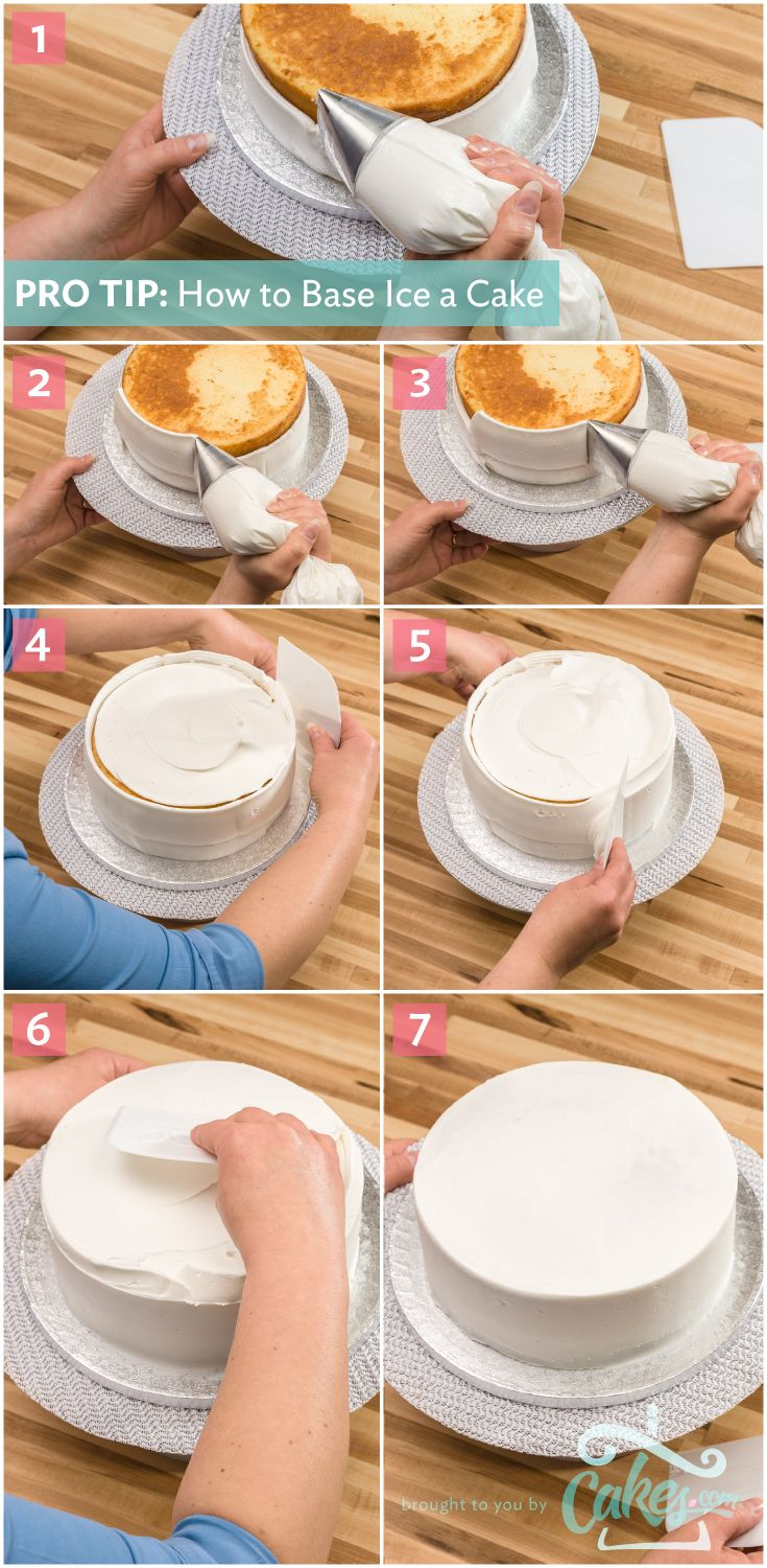 Pro Tip: How to Base Ice a Cake. Use a plastic scraper to smooth in one motion all the way around the cake without stopping. That'll give your cake a great finish.
