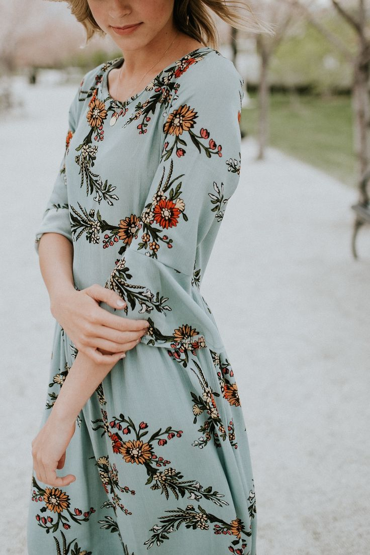 Light Blue Floral Dress | ROOLEE