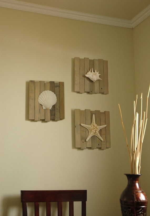 Beach wall decor set of 3 seashell beach decor knobby for Wood bathroom wall decor