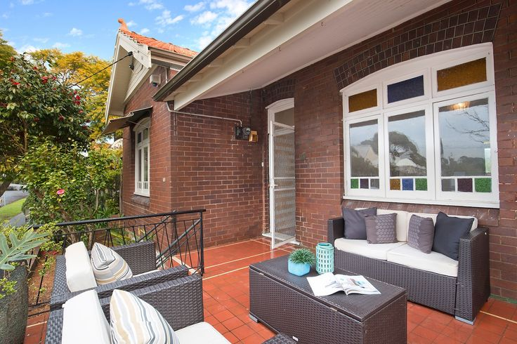 Front porch, glimpses of the city skyline, outdoor furniture, cushions, spacious character home, prestigious elevated location, 14 Edna Street, Lilyfield, Pilcher Residential