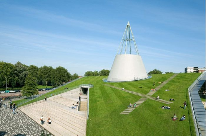TU Delft Library's iconic cone structure: 'Recognizable from afar; TU Delft Library's iconic design makes it an unique landmark on the TU Delft campus'. Photograph: Robin Barbier/GuardianWitness