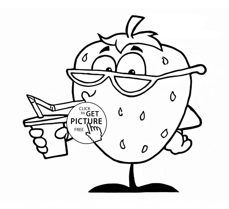Funny Strawberry Fruit Coloring Page For Kids Fruits Pages Printables Free