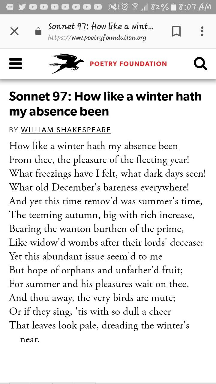 William Shakespeare Sonnet 21: How like a winter hath my absence