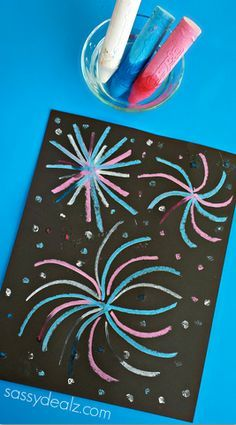 Chalk fireworks craft. I plan on trying something similar to make snowflake designs instead! Love the effect.