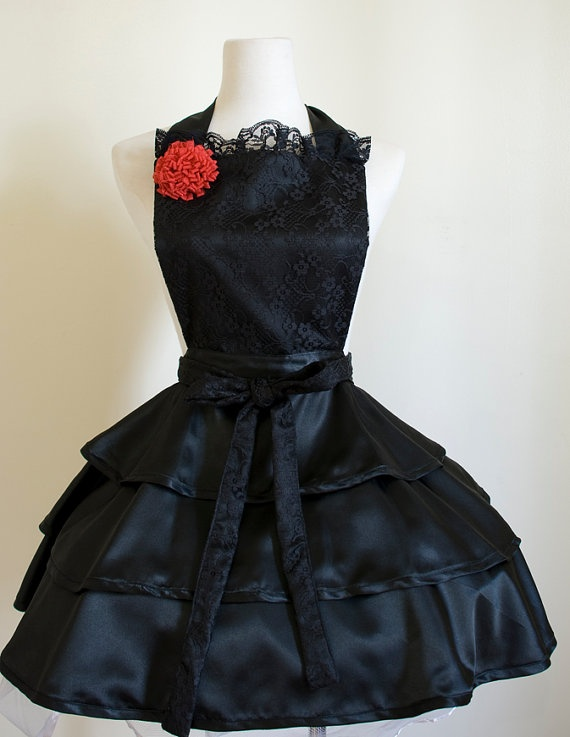 Sexy Black Apron with lace and red corsage by OliviasStudio, OMGM I WANT, IWANT