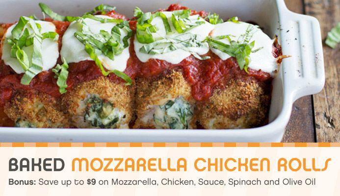 Meal Deal - Baked Mozzarella Chicken Rolls