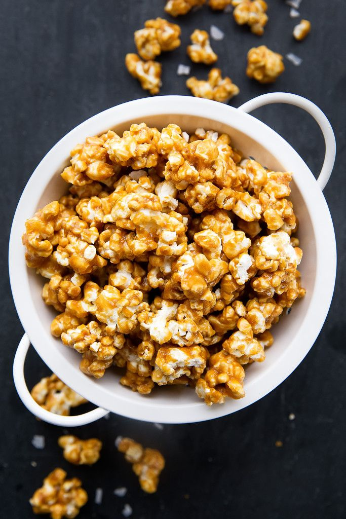 best easy, from scratch, no thermometer salted caramel popcorn; popcorn that just melts in your mouth; coated with a sweet & salty caramel, then baked to perfection