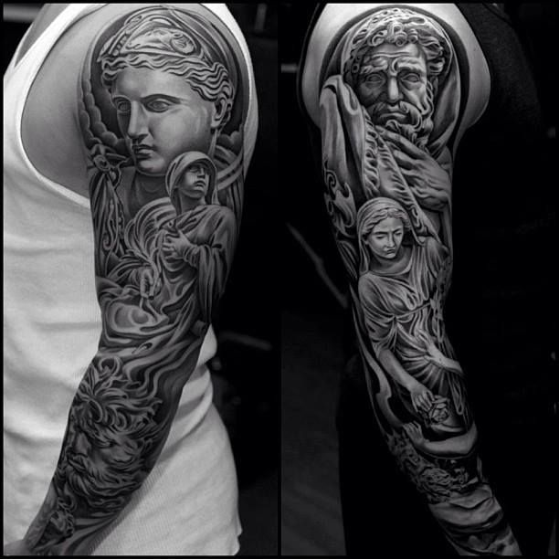 Roman statues tattoo sleeve
