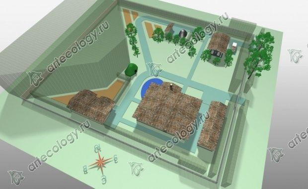 Генеральный план участка 26 соток, 3D